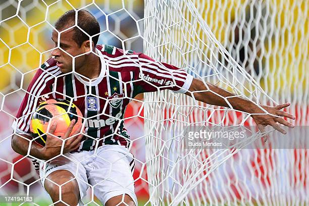 Carlinhos of Fluminense celebrates a gaol against Vasco during a match between Fluminense and Vasco as part of Brazilian Championship 2013 at...