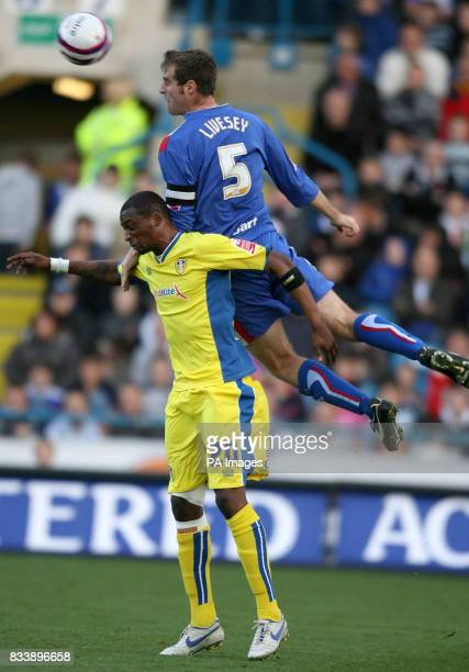 Carlisle United's Danny Livesy and Leed's United's Tresor Kandol during the CocaCola Football League One match at Brunton Park Carlisle