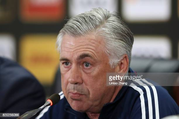 Carlo Ancelotti coach of FC Bayern attends the a press conference ahead of the 2017 International Champions Cup football match between AC milan and...