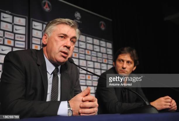 Carlo Ancelotti coach of Paris Saint Germain FC and Léonardo Nascimento de Araújo sportive director speaks at a poses at a press conference at Parc...