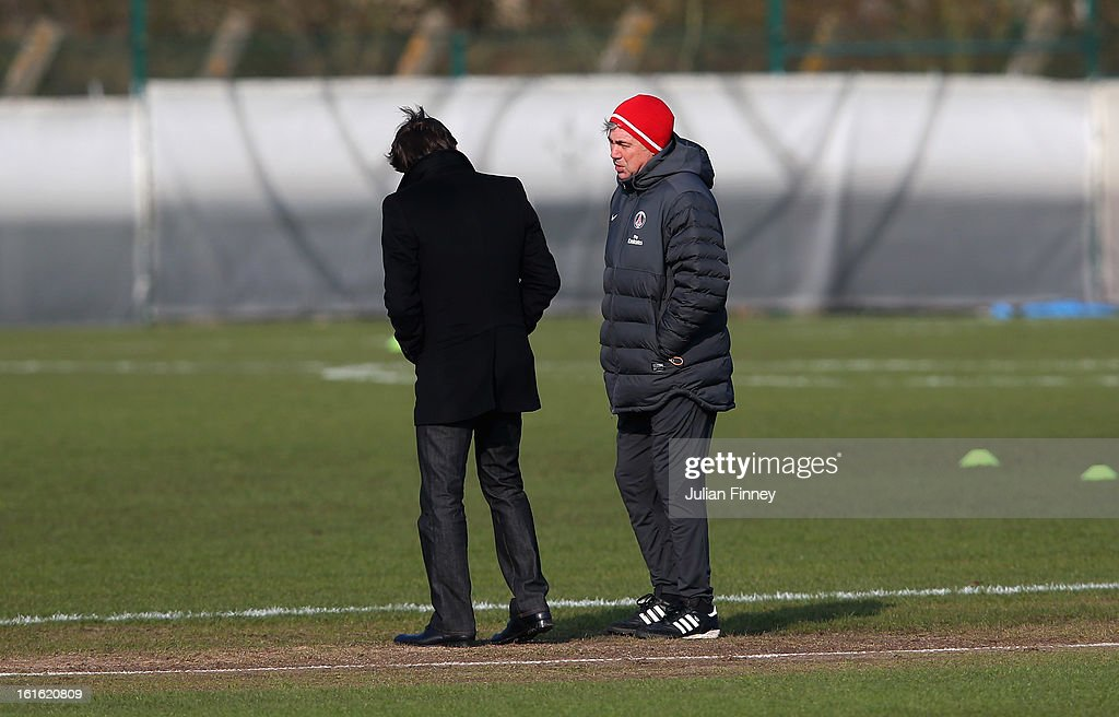 Carlo Ancelotti, coach of Paris Saint-Germain FC and Leonardo, Director of Football have a chat during a training session on February 13, 2013 in Paris, France.