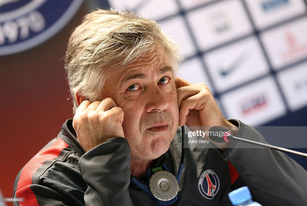 Carlo Ancelotti, coach of PSG, answering questions during a press conference after the Paris Saint Germain training session held at the Aspire Academy for Sports Excellence on December 29, 2012 in Doha, Qatar.