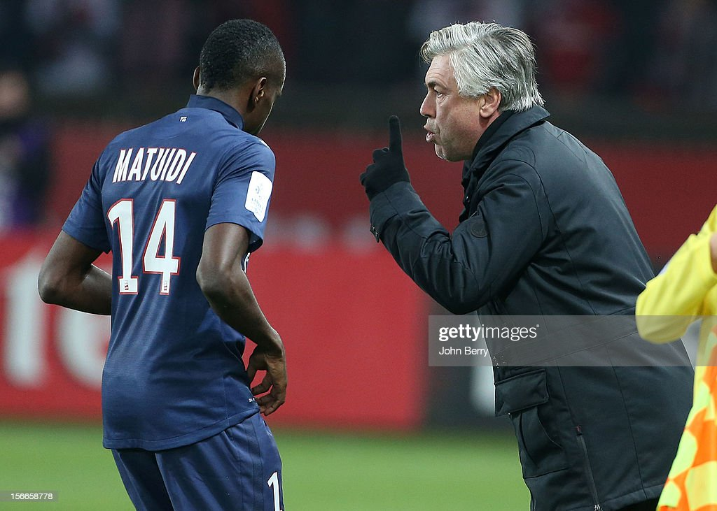 <a gi-track='captionPersonalityLinkClicked' href=/galleries/search?phrase=Carlo+Ancelotti&family=editorial&specificpeople=226747 ng-click='$event.stopPropagation()'>Carlo Ancelotti</a>, coach of PSG, gives his instructions to <a gi-track='captionPersonalityLinkClicked' href=/galleries/search?phrase=Blaise+Matuidi&family=editorial&specificpeople=801779 ng-click='$event.stopPropagation()'>Blaise Matuidi</a> of PSG during the french Ligue 1 match between Paris Saint Germain FC and Stade Rennais FC at the Parc des Princes stadium on November 17, 2012 in Paris, France.
