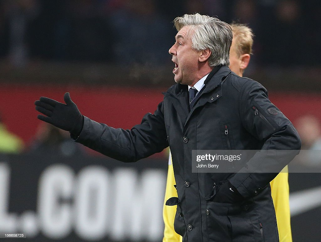 <a gi-track='captionPersonalityLinkClicked' href=/galleries/search?phrase=Carlo+Ancelotti&family=editorial&specificpeople=226747 ng-click='$event.stopPropagation()'>Carlo Ancelotti</a>, coach of PSG, gives his instructions to his players during the french Ligue 1 match between Paris Saint Germain FC and Stade Rennais FC at the Parc des Princes stadium on November 17, 2012 in Paris, France.