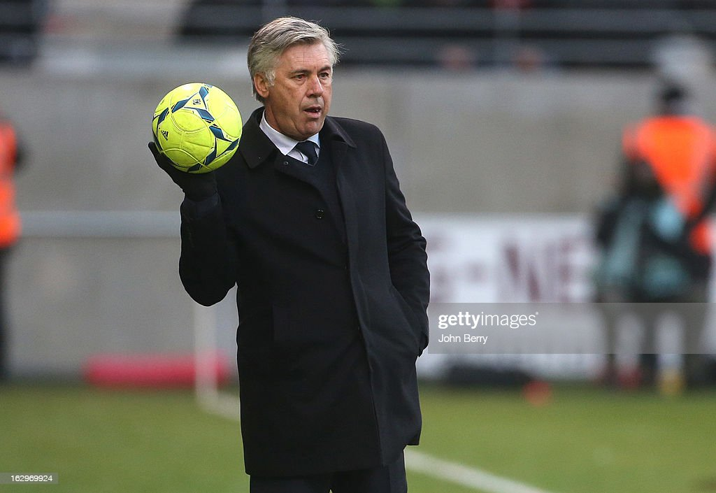 Carlo Ancelotti, coach of PSG looks on during the french Ligue 1 match between Stade de Reims Champagne FC and Paris Saint-Germain FC at the Stade Auguste Delaune on March 2, 2013 in Reims, France.