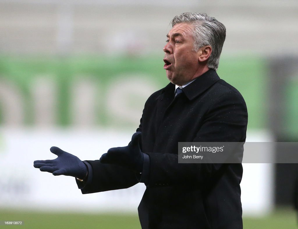 Carlo Ancelotti, coach of PSG looks on during the Ligue 1 match between AS Saint-Etienne ASSE and Paris Saint-Germain FC at the Stade Geoffroy-Guichard on March 17, 2013 in Saint-Etienne, France.