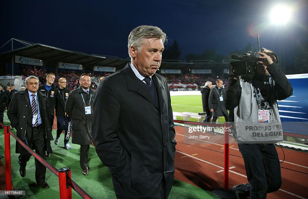 <a gi-track='captionPersonalityLinkClicked' href=/galleries/search?phrase=Carlo+Ancelotti&family=editorial&specificpeople=226747 ng-click='$event.stopPropagation()'>Carlo Ancelotti</a>, coach of PSG looks on during the Ligue 1 match between Evian Thonon Gaillard FC, ETG, and Paris Saint Germain FC, PSG, at the Parc des Sports d'Annecy on April 28, 2013 in Annecy, France.