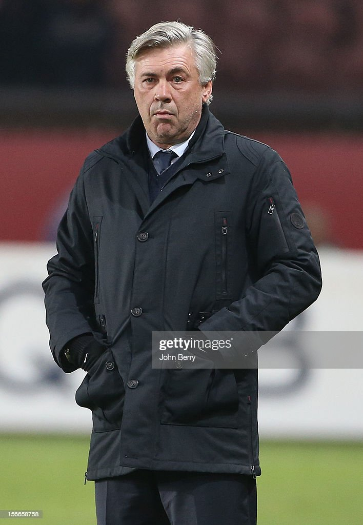 Carlo Ancelotti, coach of PSG, looks upset during the french Ligue 1 match between Paris Saint Germain FC and Stade Rennais FC at the Parc des Princes stadium on November 17, 2012 in Paris, France.