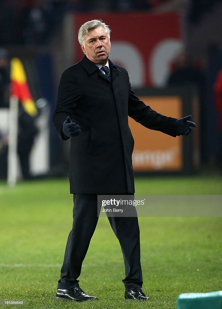Carlo Ancelotti, coach of PSG reacts during the French Ligue 1 match between Paris Saint Germain FC and Sporting Club de Bastia at the Parc des Princes stadium on February 8, 2013 in Paris, France.