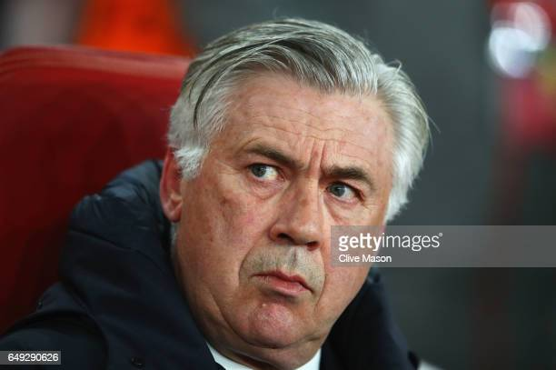 Carlo Ancelotti head coach of Bayern Muenchen looks on prior to the UEFA Champions League Round of 16 second leg match between Arsenal FC and FC...