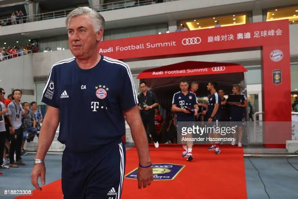 Carlo Ancelotti head coach of Bayern Muenchen looks on prior to the Audi Football Summit 2017 match between Bayern Muenchen and Arsenal FC at...