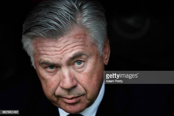 Carlo Ancelotti head coach of Bayern Munich during the Bundesliga match between Bayern Muenchen and FC Augsburg at Allianz Arena on April 1 2017 in...