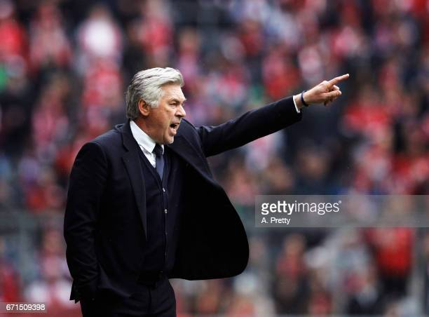Carlo Ancelotti head coach of Bayern Munich in action during the Bundesliga match between Bayern Muenchen and 1 FSV Mainz 05 at Allianz Arena on...