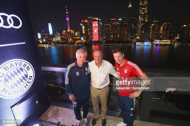 Carlo Ancelotti head coach of FC Bayern Muenchen attends with his player Robert Lewandowski and KarlHeinz Rummenigge CEO of FC Bayern Muenchen the...