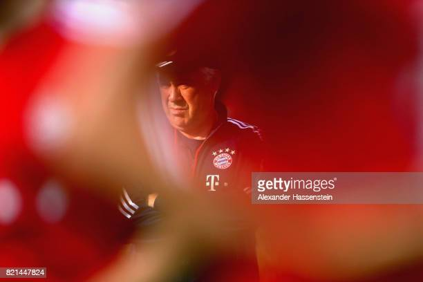 Carlo Ancelotti head coach of FC Bayern Muenchen looks on during a training session at Geylang Field during the Audi Summer Tour 2017 on July 24 2017...