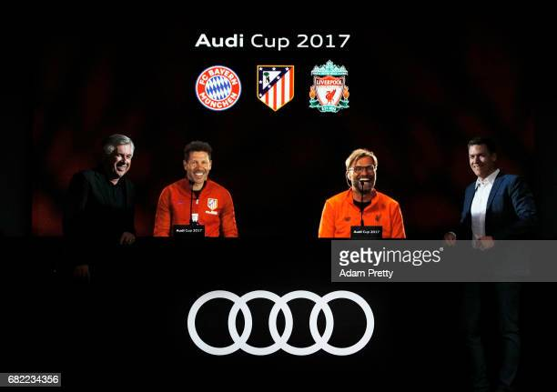 Carlo Ancelotti head coach of FC Bayern Munich Diego Simeone head coach of Atletico de Madrid Juergen Klopp head coach of Liverpool FC and Thomas...