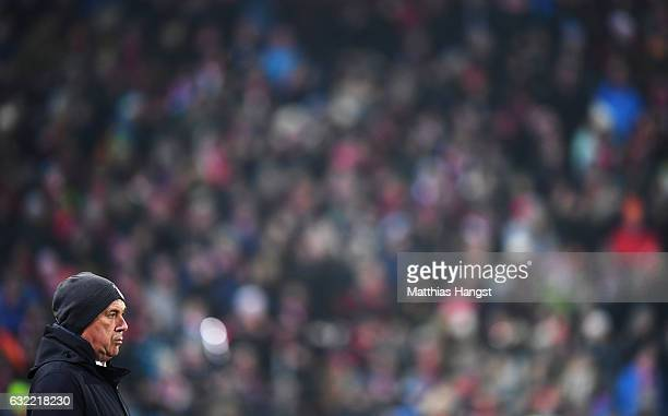 Carlo Ancelotti head coach of Muechen looks on during the Bundesliga match between SC Freiburg and Bayern Muenchen at SchwarzwaldStadion on January...