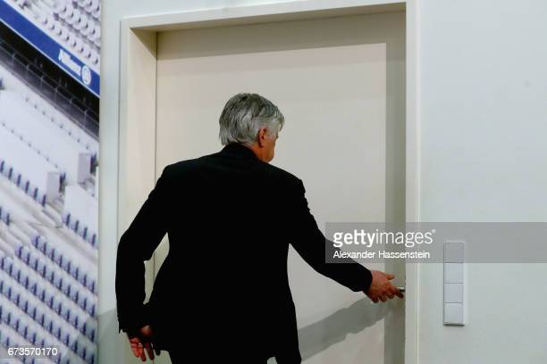 Carlo Ancelotti head coach of Muenchen leaves the press room after the DFB Cup semi final match between FC Bayern Muenchen and Borussia Dortmund at...