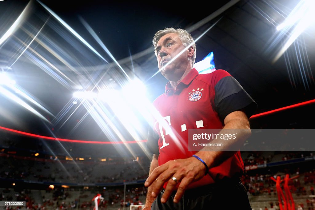 Carlo Ancelotti head coach of Muenchen looks on after the pre season friendly match between Bayern Muenchen and Manchester City FC at the Allianz...