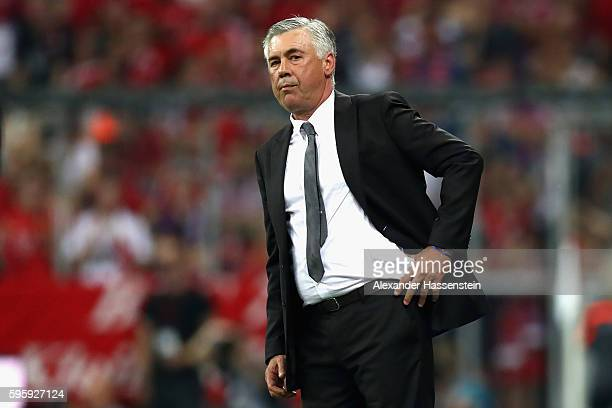 Carlo Ancelotti head coach of Muenchen looks on during the Bundesliga match between Bayern Muenchen and Werder Bremen at Allianz Arena on August 26...