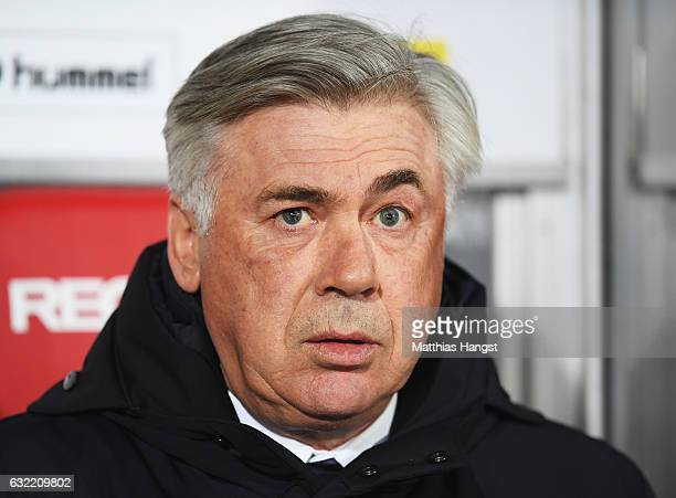 Carlo Ancelotti head coach of Muenchen looks on during the Bundesliga match between SC Freiburg and Bayern Muenchen at SchwarzwaldStadion on January...