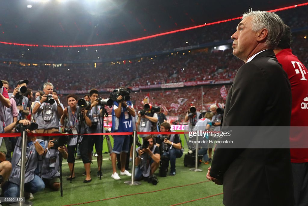 Carlo Ancelotti, head coach of Muenchen looks on prior to the Bundesliga match between Bayern Muenchen and Werder Bremen at Allianz Arena on August 26, 2016 in Munich, Germany.