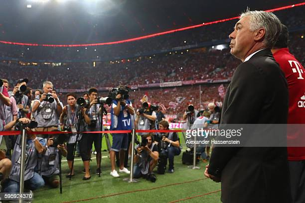 Carlo Ancelotti head coach of Muenchen looks on prior to the Bundesliga match between Bayern Muenchen and Werder Bremen at Allianz Arena on August 26...