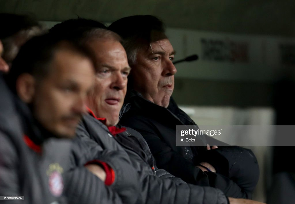 Carlo Ancelotti, head coach of Muenchen reacts during the DFB Cup semi final match between FC Bayern Muenchen and Borussia Dortmund at Allianz Arena on April 26, 2017 in Munich, Germany.