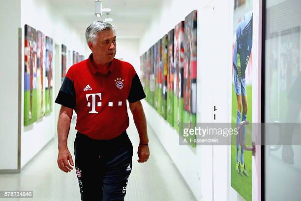 Carlo Ancelotti head coach of Muenchen walks at the players tunnel after the pre season friendly match between Bayern Muenchen and Manchester City FC...