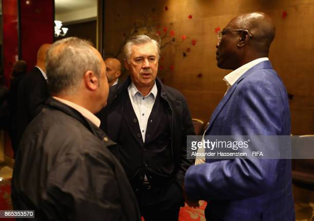 Carlo Ancelotti in conversation during the 3rd FIFA Legends Think Tank Meeting prior to The Best FIFA Football Awards at The May Fair Hotel on...