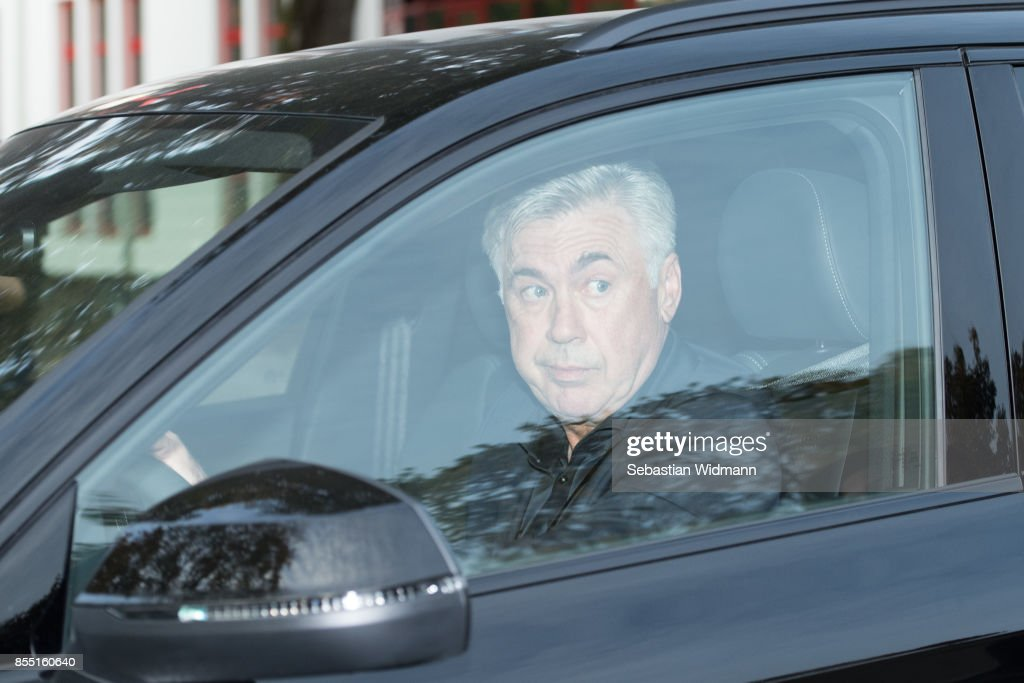 Carlo Ancelotti is leaving the Saebener Strasse training ground on September 28, 2017 in Munich, Germany. FC Bayern Muenchen have sacked head coach Carlo Ancelotti after the 3 - 0 defeat in last night's UEFA Champions League match against Paris Saint-Germain.