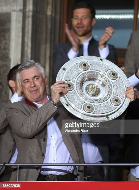 Carlo Ancelotti Manager of Bayern Muenchen celebrates winning the 67th German Championship title on the town hall balcony at Marienplatz on May 20...