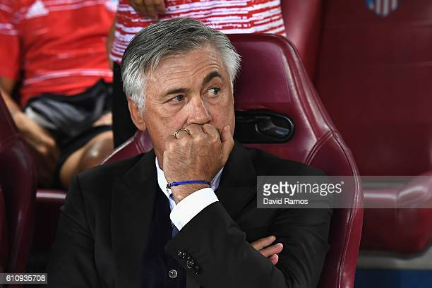Carlo Ancelotti Manager of Bayern Muenchen looks on before the UEFA Champions League group D match between Club Atletico de Madrid and FC Bayern...