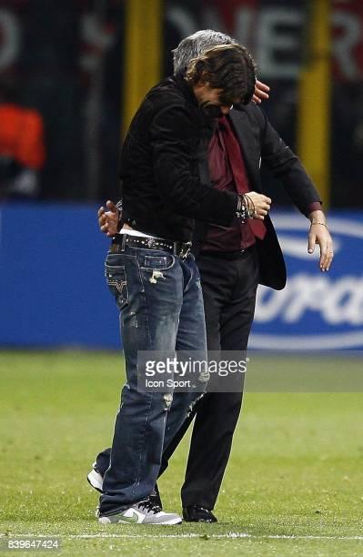 Carlo ANCELOTTI / Paolo MALDINI Milan Ac / Manchester United 1/2 Finale retour de Champions League Milan Italie