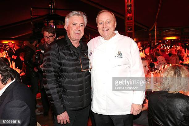 Carlo Ancelotti soccer head coach of FC Bayern Munich and Alfons Schuhbeck during the VIP premiere of Schubeck's Teatro at Spiegelzelt on November 3...
