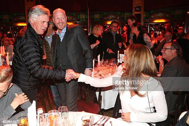Carlo Ancelotti soccer head coach of FC Bayern Munich and Matthias Sammer and his wife Karin Sammer during the VIP premiere of Schubeck's Teatro at...