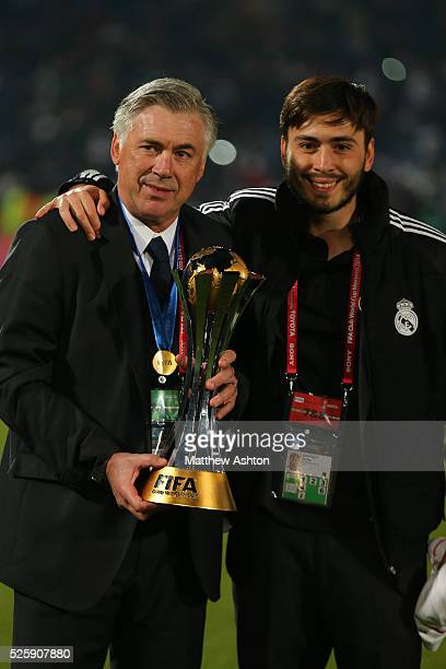 Carlo Ancelotti the head coach / manager of Real Madrid with his son Davide Ancelotti a fitness coach at Real Madrid with the FIFA Club World Cup...