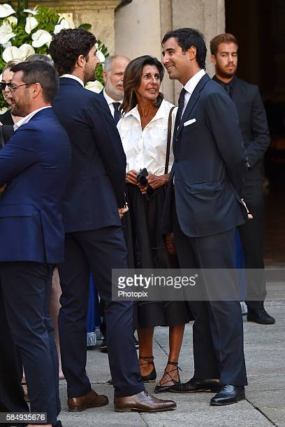 Carlo Borromeo and Albertina Marzotto arrive at Marta Marzotto funeral at church of Sant'Angelo on August 1 2016 in Milan Italy
