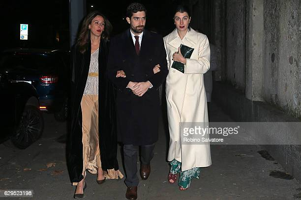 Carlo Borromeo and Marta Ferri arrive at Fondazione IEO CMM Christmas Charity Dinner at Villa Necchi on December 13 2016 in Milan Italy