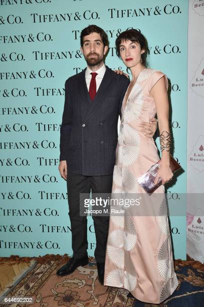 Carlo Borromeo and Marta Ferri attend the TiffanyCo And Luisa Beccaria party during Milan Fashion Week Fall/Winter 2017/18 on February 23 2017 in...