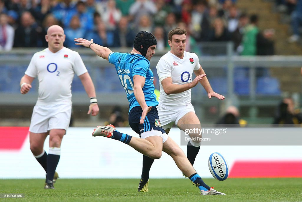 Carlo Canna of Italy fails with an attempted drop goal during the RBS Six Nations match between Italy and England at the Stadio Olimpico on February 14, 2016 in Rome, Italy.