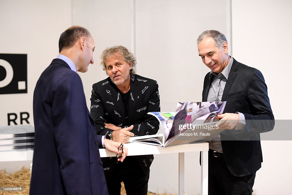 Carlo Capasa and Renzo Rosso attend Renzo Rosso And OTB Launch 'Radical Renaissance 555' Book on June 17 2016 in Milan Italy