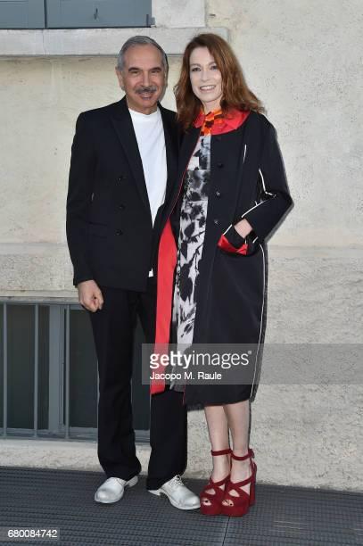 Carlo Capasa and Stefania Rocca attend a 'Private view of 'TV 70 Francesco Vezzoli Guarda La Rai' at Fondazione Prada on May 7 2017 in Milan Italy