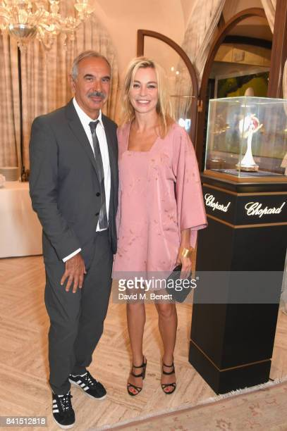 Carlo Capasa and Stefania Rocca Felice attend an intimate lunch hosted by Livia Firth Carlo Capasa and Caroline Scheufele to announce Chopard as...