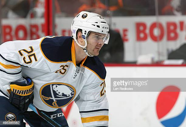 Carlo Colaiacovo of the Buffalo Sabres looks on against the Philadelphia Flyers on October 27 2015 at the Wells Fargo Center in Philadelphia...
