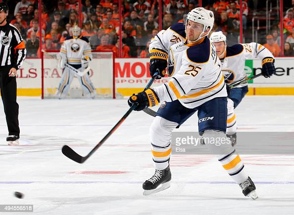 Carlo Colaiacovo of the Buffalo Sabres passes the puck in the first period against the Philadelphia Flyers on October 27 2015 at the Wells Fargo...