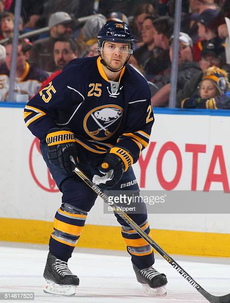 Carlo Colaiacovo of the Buffalo Sabres skates against the Calgary Flames during an NHL game on March 3 2016 at the First Niagara Center in Buffalo...