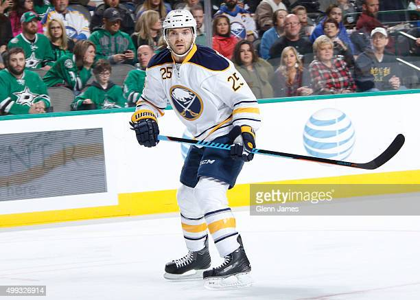 Carlo Colaiacovo of the Buffalo Sabres skates against the Dallas Stars at the American Airlines Center on November 21 2015 in Dallas Texas