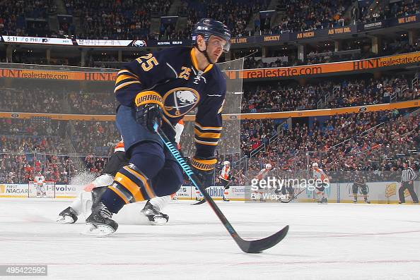 Carlo Colaiacovo of the Buffalo Sabres skates against the Philadelphia Flyers during an NHL game on October 30 2015 at the First Niagara Center in...