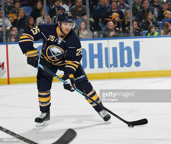 Carlo Colaiacovo of the Buffalo Sabres skates against the Nashville Predators during an NHL game on November 25 2015 at the First Niagara Center in...
